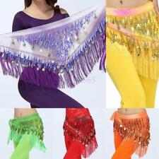 3Rows Charming Coins Sequins Bling Belly Dance Skirt Dancing Wrap Hip Scarf Belt