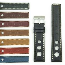 StrapsCo GT Rally Racing Leather Watch Band Mens Strap