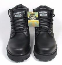 6606 B SKECHERS BOOTS MENS TOM CATS BULLY BLACK LEATHER ANKLE Memory Foam