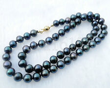 "Peacock Black 7-7.5mm AAA Grade Akoya Pearl Necklace 19-24"" 14k GF Free Shipping"