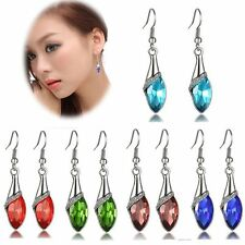 1Pair Elegant Women's Gold Plated Crystal Drop Dangle Earring Hook Jewelry Gift