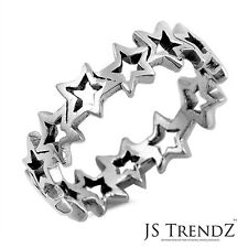 Sterling Silver 6mm Wide Cut out Stars All Around Band Ring