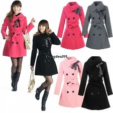 Women Double-breasted Winter Wool Trench Coat Long Jacket Outwear Overcoat OO55