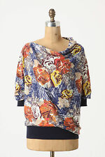 Anthropologie Autumn Leaves Top Size M, Lightweight Floral Cowlneck By Sparrow