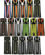 "Mens Unisex Clip-on Braces Elastic Suspender ""Stripe"" Y- back Suspender"