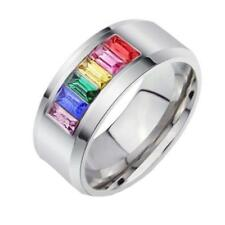 Rainbow Stainless Steel Colourful Crystal Ring Gay Les Pride US Size 5-13