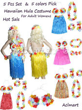 Set 5Pcs Adult Hawaiian Grass Skirt Hula Luau Party Dance Costume Fancy Dress up