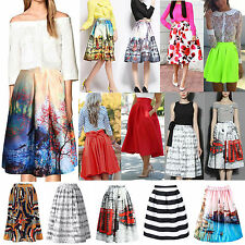 RETRO Women Sexy A Line Flared Skater Skirt High Waist Party Midi Ladies Dress