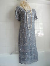 Vintage 1920's Grey Sequin Deco Bead Flapper Charleston Gatsby Downton Dress