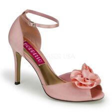 Bordello ROSA-02 Women's Shoes Baby Pink Satin Open Toe ANkle Strap High Heels