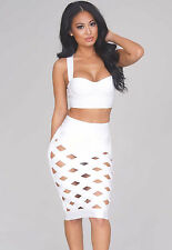 Sexy Celeb Style Open Caged White Bodycon Bandage Skirt Set IN STOCK TO POST