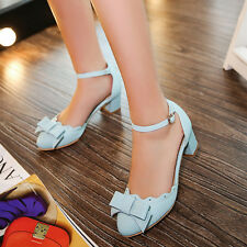 Korean Womens Sweet Chunky Heel Mid Oxfords Ankle Straps Dress Shoes Plus size