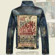 Mens Vintage Punk Rock Printed Jeans Denim Outerwear Jacket Motorcycles Biker