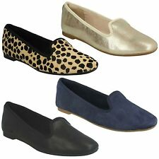 CHIA MILLY LADIES CLARKS CUSHIONED SOFT SLIP ON FLAT LEATHER LOAFERS PUMP SHOES