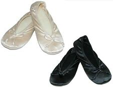 New Isotoner Womens Satin Plus Size Ballerina Slippers (Pack of 2)