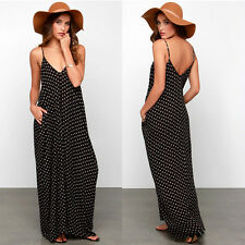 NEW Sexy Womens Dress Summer Spaghetti Straps Polka Dots Chiffon Beach Long Maxi