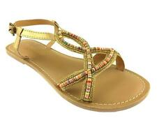 LADIES STRAPPY SUMMER GLADIATOR FLAT SANDALS GOLD SIZE 3-9 NEW