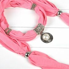 Ring White Necklace Pendant Scarves Jewelry Scarf Charm Flower Pearl