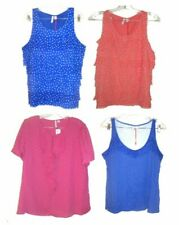 Size L-XL ~ NWT$34-$40 Elle Layered Chiffon & Lace & Ruffle Neck Polka Dot Tops