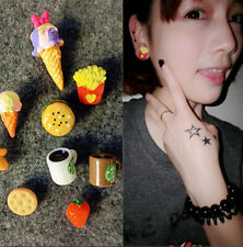 Funky Girl Cute Food Fruit Resin Ear Stud Earring Strawberry/Cup/Chips/Hamburger
