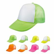 6 LOT BLANK NEON FOAM MESH TRUCKER HATS CAPS SOLID TWO TONE WHOLESALE BULK