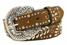 Nocona Western Womens Belt Leather Stitch Floral Crystals Stud Brown N3499544