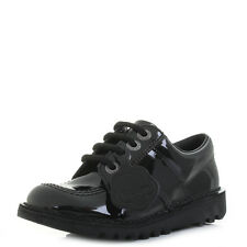 Kids Girls Boys Kickers Kick Lo Core Jf Black Patent Smart School Shoes Shu Size