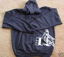 New BARREL RACING HOODIE Hooded Sweatshirt Black Cowgirl Up Racer Rodeo Cowboy