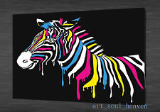 Oil Painting HD Print Wall Decor Art on Canvas,Abstract zebra 24x36(Unframed)