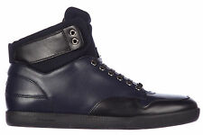 DIOR MEN'S SHOES HIGH TOP LEATHER TRAINERS SNEAKERS NEW B01 BLUE BF7
