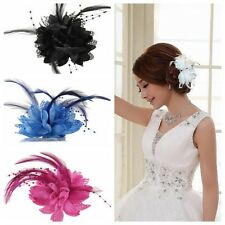 Flower Feather Bead Corsage Hair Clips Fascinator Bridal Hairband Party Hot Sale