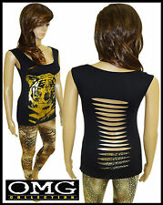 Womens New Ladies Animal Gold Foil Print  Cropped Vest Top Tee Size / 8-14
