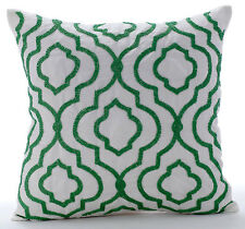 """Royal Missoni - 16""""x16"""" Art Silk White Throw Pillows Cover For Couch"""