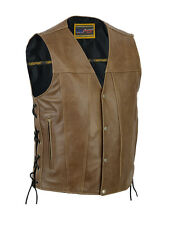 Men's Brown Single Back Panel Concealed Carry Motorcycle Vest - All Sizes -New
