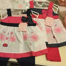 New Baby Girls Sun Dress Pink or Navy Leggings 0-3 3-6 & 6-9 Months