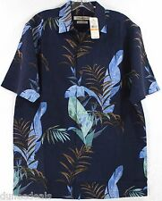 NWT Tommy Bahama The Frond Tier-Neptune 100% Silk Camp Shirt $118