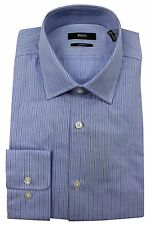 BOSS Hugo Boss $125 NWT Blue Striped Sharp Fit Dress Shirt Long Sleeve Men