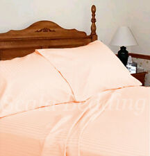 100% EGYPTIAN COTTON 1000-TC COMPLETE USA BEDDING SETS PEACH STRIPED ALL SIZES