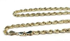 14K Yellow Gold 2.5mm Italy Rope Chain Twist Link Necklace 16,18, 20, 22, 24, 26