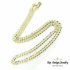 "14k Solid Yellow Gold Cuban Curb Link Necklace Chain 22"" 3.6mm"