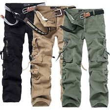 28 & 42 Men's Bootcut Trousers Loose Cargo Overalls Multi-pocket Pants Trousers