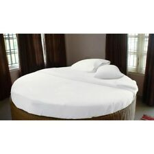 1200TC Egyptian Cotton ROUND BED SHEET SET Sateen Solid White