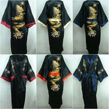 Men Oriental Kimono bathrobe Nightwear Embroidery Dragon Dressing Gown Bath Robe