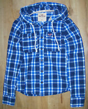 Mens Hollister Blue Checked Hooded Shirt Size S.
