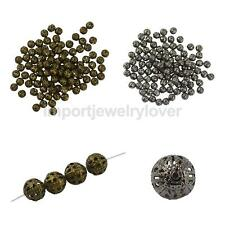 100/50pcs 6/8/10mm Craft Hollow Metal Beads Jewelry Making Findings DIY Gift