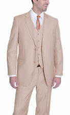 House Of St. Benets Classic Fit Solid Tan Brown Two Button Three Piece Suit