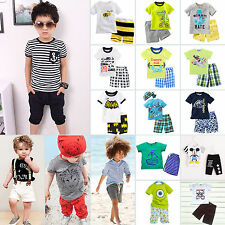 Summer Kids Boys Casual Short Sleeve T-shirts + Shorts Bottom Outfit Clothes Set