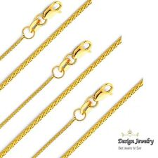 14K Yellow Gold 1.1mm Braided Wheat Chain Necklace - 24 Inches