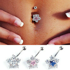 Gem Crystal Belly Navel Ring Heart Flower Butterfly non-dangle Piercing Jewelry