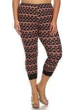 CANARI Burgundy Multi-color Geo Lace Trim High Waist Capri Leggings Plus Size